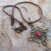 Red Jasper Cabochon Pendant Necklace on Brown Suede