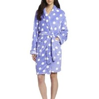 Seven Apparel Hotel Spa Collection Ladies Chic Printed Plush Bath Robes, Lavender Polka Dots