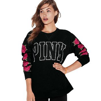 PINK Victoria's Secret Flower Fashion Top Sweater Pullover