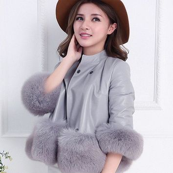 Fox Fur Coat PU Leather Outerwear Warm Women Jacket