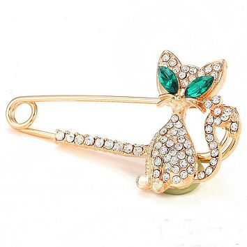 LNRRABC Fashion brooches Women Girl pins Rhinestones Crystal broches Green-eyes Cat Brooch Pin Jewelry Christmas Gift broche