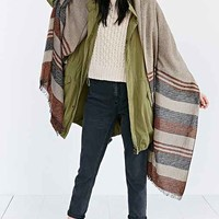 BDG Border Stripe Blanket Scarf- Light Brown One