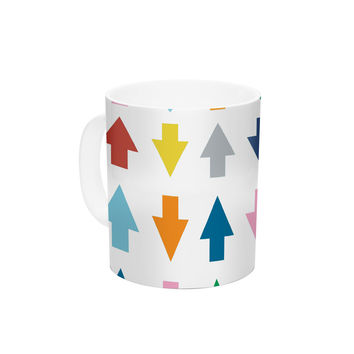"""Project M """"Arrows Up and Down White"""" Ceramic Coffee Mug"""
