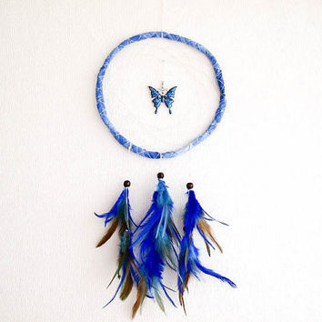 Dream Catcher - Blue Butterfly - With Blue Butterfly Amulet, Blue and Turquoise Feathers, Blue Frame and White Nett - Home Decor, Mobile