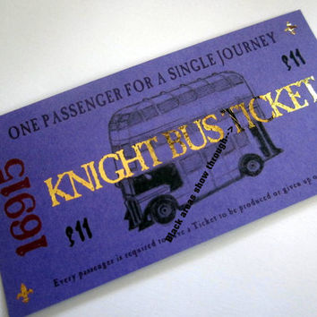 Harry Potter Knight Bus Ticket (flawed)
