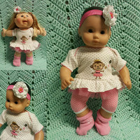 "15 inch Baby Doll ""Princess Monkey"" doll outfit Will fit Bitty Baby® Bitty Twins®  dress shorts socks headband R8"