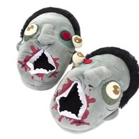 Bronze Times(TM) Unisex Fuzzy Soft Baggy Zombie Plush House Slippers (Green)