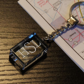 Design's Block Keychain with Font Selection, LED Option, and Gift Pouch Option (Each)