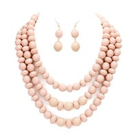 Neutral Layered Strands Light Pink Rose Beaded Beads Necklace