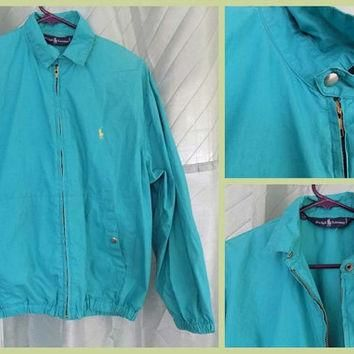 80s Teal Ralph Lauren Jacket, Cotton Zip Up Windbreaker Bomber Coat, Blue Unisex Sprin