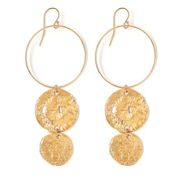 Tess and Tricia Lyra Gold Disc + Coin Hoop Earring