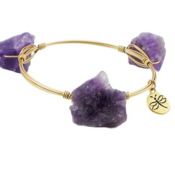 Crystal Wire Bangle Quartz Purple Crystal Stones
