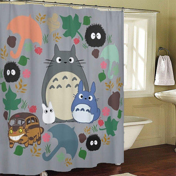 Totoro Kawaii My Neighbor Shower Curtains From LeatriceCurtain On