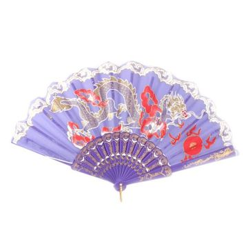 Lady Plastic Frame Dragon Pattern Chinese Style Summer Hand Folding Cooling Fan - Walmart.com