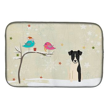 Christmas Presents between Friends Smooth Fox Terrier Dish Drying Mat BB2570DDM