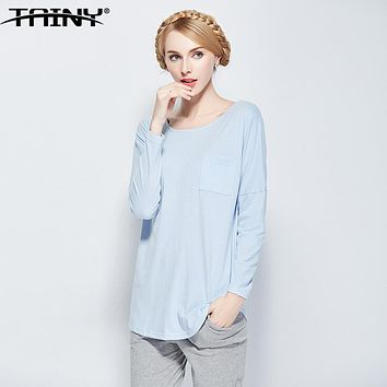 TAINY Band 2017 Occidental Style Cotton Loose Long Sleeve Round Neck Women Home Leisure Wear Homewear Pajama Suits