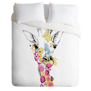 Casey Rogers Giraffe Color Duvet Cover