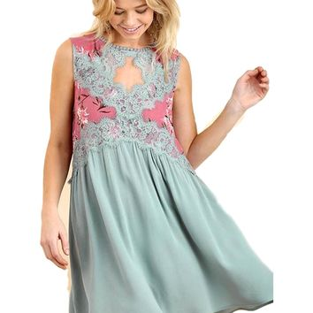 Sleeveless Shift Keyhole Dress with a Floral Print and Lace Bodice, Sage-Mint