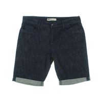 Levi's Womens Petites Dark Wash Cuffed Bermuda Shorts