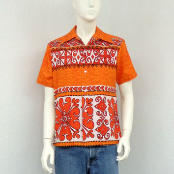 Vintage 60s Bright Orange Hawaiian Shirt, Tribal Shirt, Floral Shirt, Barkcloth Aloha Shirt, Mens Retro Shirt, Summer Resort Wear Size M