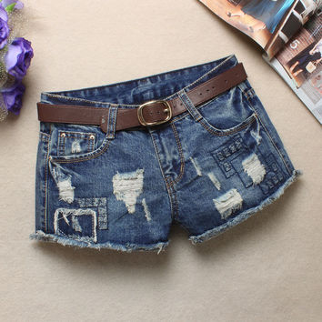 Summer Low Waist Korean Ripped Holes Blue Denim Shorts Pants Jeans [6048826113]