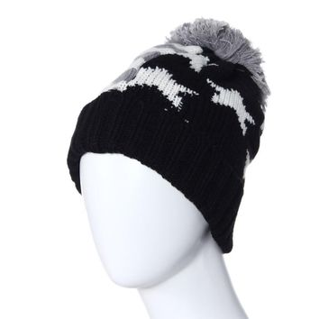 Sali 2017 Newly Design Star Pattern Knitted Beanie Caps Winter Wool Yarn Ball Hats For Men Women Couples