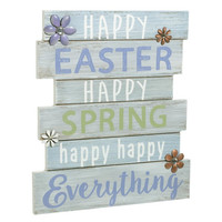 Happy Easter. Happy Spring. Happy Everything - Plankboard Decorative Spring and Easter Wall Art 11-1/4-in