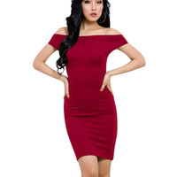 Red Off-Shoulder Backless Bodycon Dress