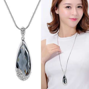 RAVIMOUR Korean Fashion Jewelry Women Necklaces Pendants Big Water Drop Crystal Kolye Female Silver Chain Long Collier Femme New