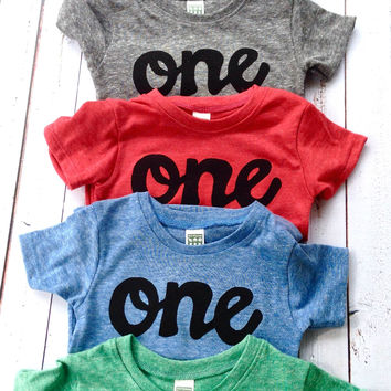 script one -SALE Colors- red, blue, grey, mint green, purple- boys 1st birthday shirt black one kids birthday theme first party 1 year old baby infant gift