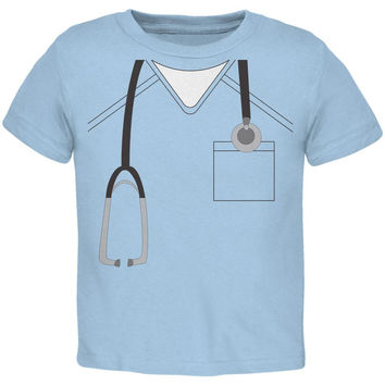 Halloween Doctor Scrubs Costume Light Blue Toddler T-Shirt