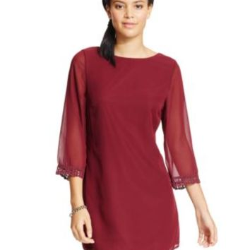 Speechless Juniors' Crochet-Trim V-Back Shift Dress | macys.com