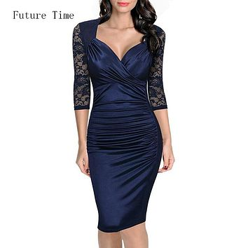Women summer dress,sexy lace deep v-neck tunic bodycon dress,vintage elegant slim pencil dress casual office vestido robe C1324