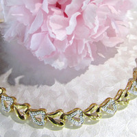 Sterling Silver Gold Washed Heart style Bracelet 7 1/2 Vintage Jewelry