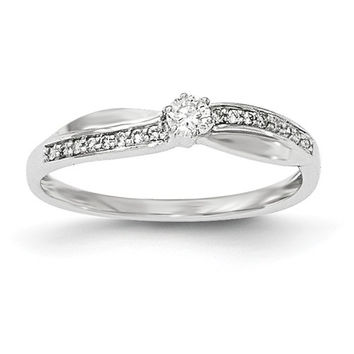 14K White Gold Round Diamond Infinity Inspired Promise Ring