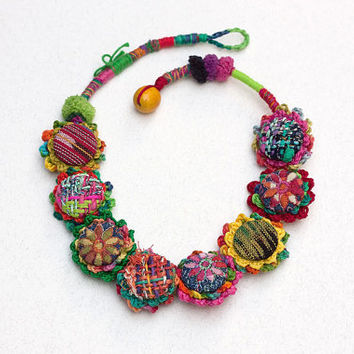 Colorful textile necklace, crochet fiber art jewelry with fabric buttons, OOAK