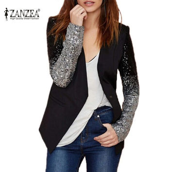 Women Coat 2016 Fashion Formal Blazers Suit Zanzea Spring Long Sleeve Lapel Gradient Sliver Black Bling Sequined Ladies Clothe