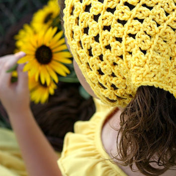 Hair Kerchief Crochet Head Wrap Yellow Boho Hair Accessories Tweens Teens Women