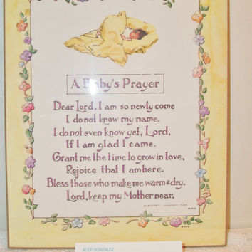 Vintage A Baby's Prayer Plaque 1970 Retro Yellow Nursery Decor Baby Shower Religious Gift