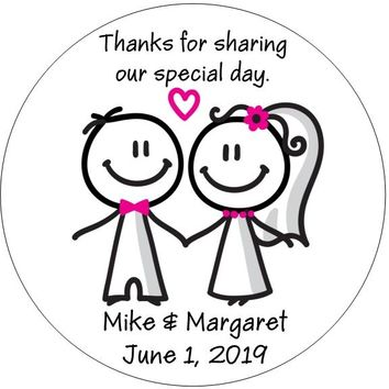Cute Stick Figure Couple Wedding Stickers
