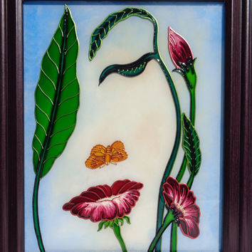 Flower art Glass painting Flowerscape painting Landscape painting Painted glass
