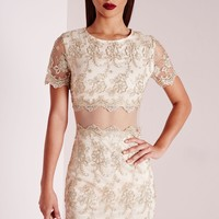 Missguided - Premium embroidered Lace Mini Dress Gold