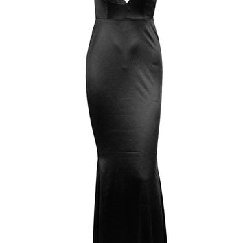 Making It Memorable Black Satin Sleeveless Spaghetti Strap Plunge V Neck Backless Ruched Mermaid Maxi Dress