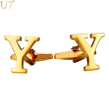 U7 New Gold/Silver Color Cufflinks Men Jewelry Initial Alphabet Y Letter Trendy Wedding Party Button Cuff Links With Box C225