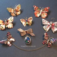 7 Vintage Butterfly Pins, Colorful Insect Brooches, Vintage Butterfly Pin Lot