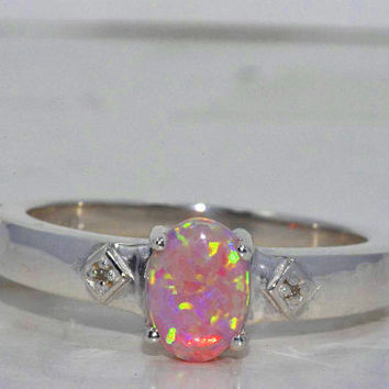 Pink Opal Oval Diamond Ring .925 Sterling Silver Rhodium Finish White Gold Quality