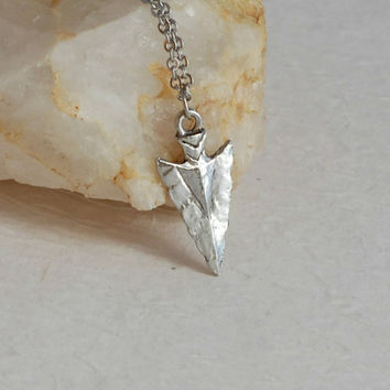 Silver Arrowhead charm necklace, simple Native American Indian arrow head pendant birthday gift gifts