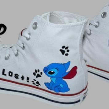 DCCKGQ8 hand painted converse hi stitch from lilo and stitch cartoon i m lost handpainted