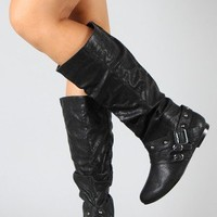 Vickie-03 Studded Buckle Slouchy Riding Knee High Boot