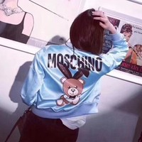 """Moschino"" Women Fashion Letter Cute Cartoon Bear Pattern Print Long Sleeve Zip Cardigan Baseball Clothes Coat"